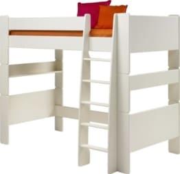 Steens Halbhochbett fuer Kinder inklusive Lattenrost und teilbar 90x200cm mdf weiß lackiert