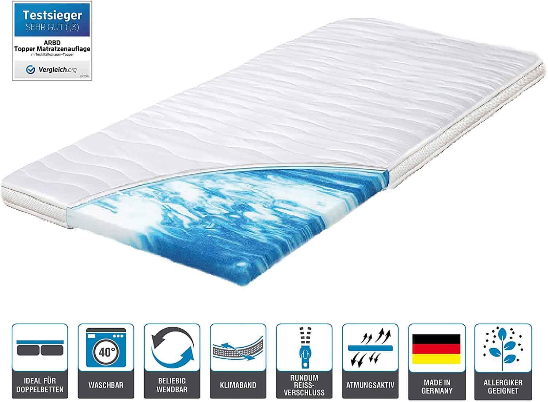 ARBD Topper, Matratzenauflage, Kaltschaum, 7cm - XL10cm - XL Wave 10cm - XXL Rave 12cm, alle Größen - Schlafen wie auf Wolken H2 + H3 (H2-7cm, 140x200)