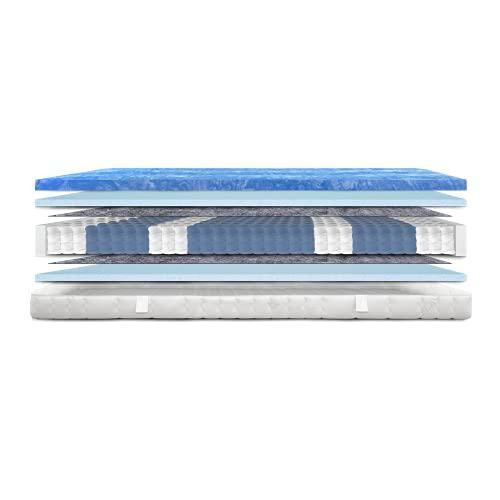 AM Qualitätsmatratzen - Gelschaum-Matratze 140x200cm H2 -Taschenfederkernmatratze Gelschaum 140x200 - Matratze mit integrierter 6cm Gelschaum-Auflage - 24cm Höhe - Made in Germany